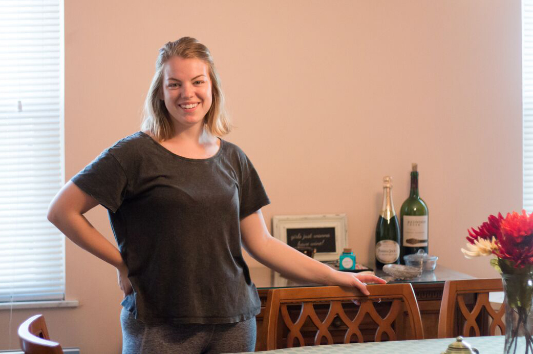 Jennifer Wright shows off her Shadyside apartment. Photo by Courtney Giles.